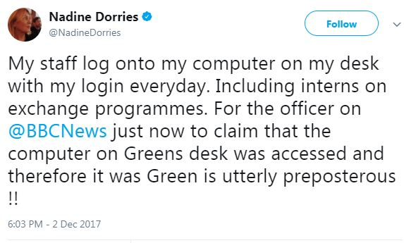 nadine dorries password sharing