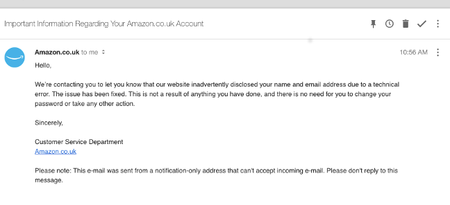 amazon breach email